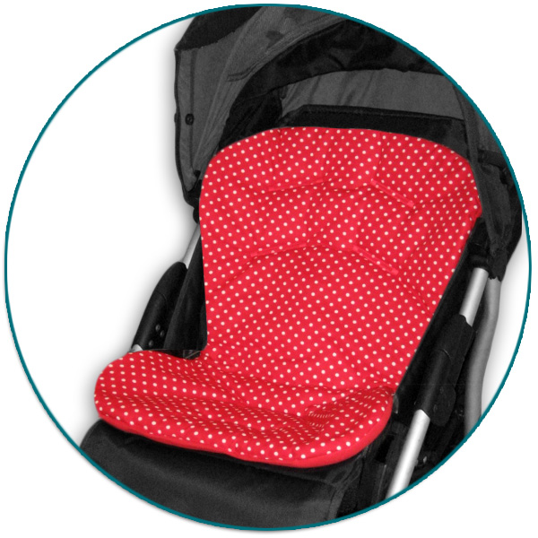 IVEMA BABY - Vložka do kočíka Uni Color - červená s bodkami / červená
