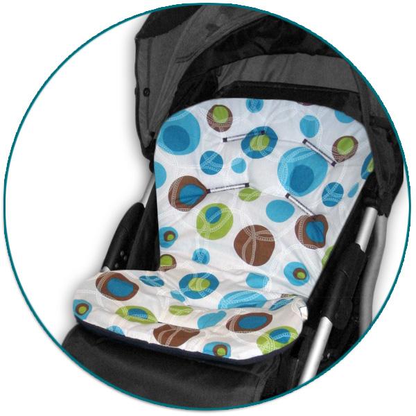 IVEMA BABY - Vložka do kočíka Uni Color - tyrkysové bubliny / hnedá