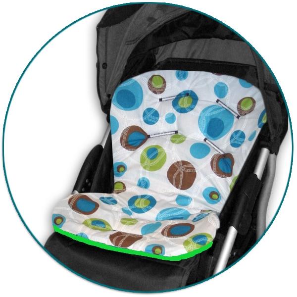 IVEMA BABY - Vložka do kočíka Uni Color - tyrkysové bubliny / limetka
