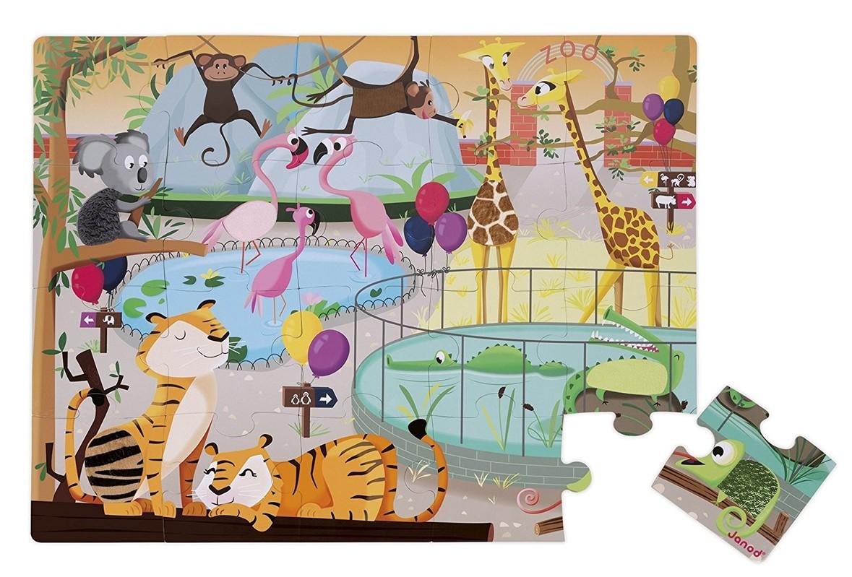JANOD - J02774 Dotykové puzzle s textúrou Deň v ZOO 20 dielikov