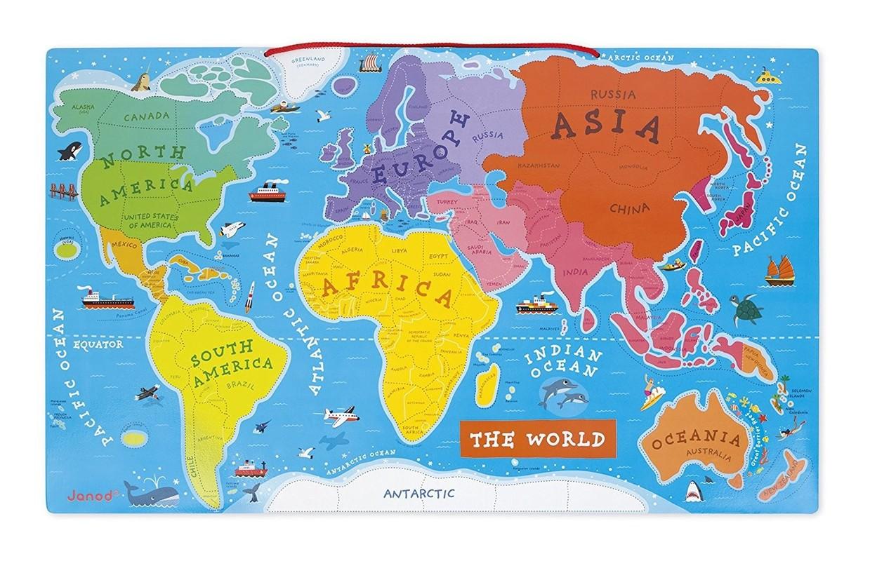 JANOD - J05504 Drevená magnetická mapa sveta na zavesenie anglická verzia