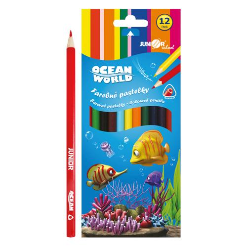 JUNIOR - Pastelky Ocean World trojhranné 12 ks