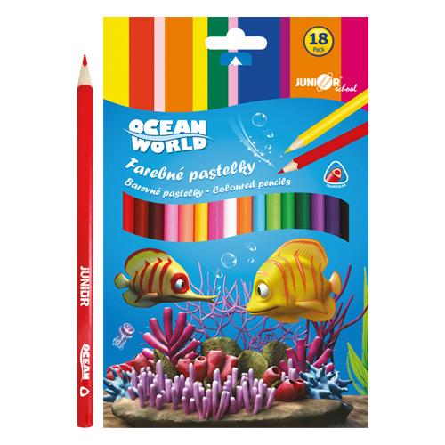 JUNIOR - Pastelky Ocean World trojhranné 18 ks