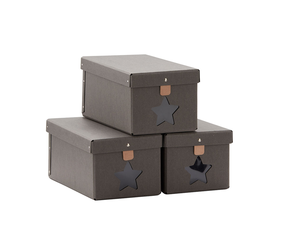 KIDS CONCEPT - Krabice na topánky 3ks Grey