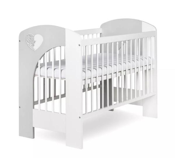 KLUPS - Postieľka detská NEL - Srdce 120x60 cm bielo-šedá