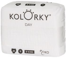 KOLORKY - DAY NATURE - S (3-6 kg) - 25 ks - jednorazové eko plienky