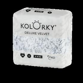 KOLORKY - DELUXE VELVET - S (3-6 kg) - 25 ks - jednorázové ekoplienky