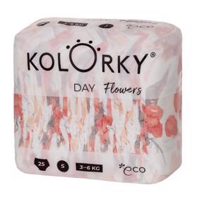 KOLORKY - kvety - S (3-6 kg) - 25 ks - jednorazové eko plienky