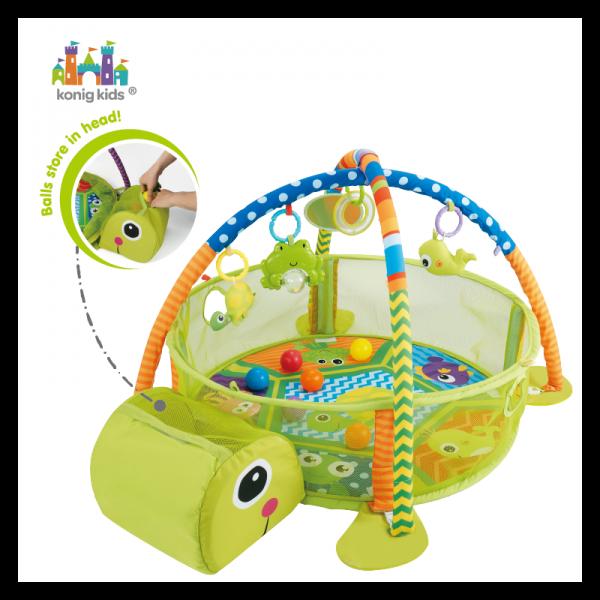 KONIG KIDS - Vzdelávacia hracia deka s 30 loptičkami Konig - Korytnačka