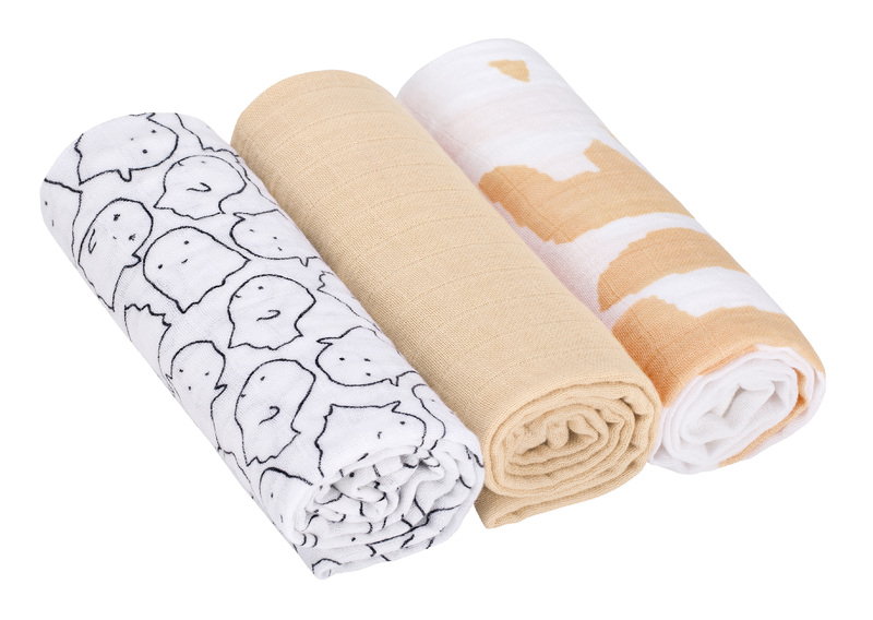 LÄSSIG - bavlnené plienky, Swaddle blanket 85x85 Little Spookies peach