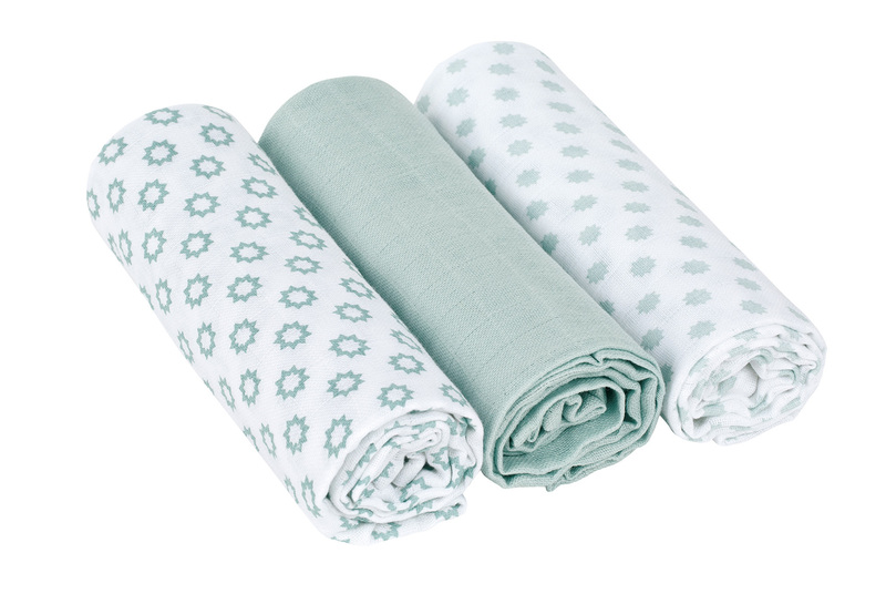 LÄSSIG - Bavlnené plienky SwaddleMe Blanket 85x85 Little Chums Star light mint