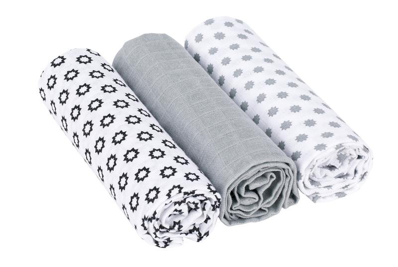 LÄSSIG - Bavlnené plienky SwaddleMe Blanket 85x85 Little Chums Stars white
