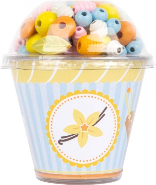 LEGLER - Drevené korálky Cupcake - žlté
