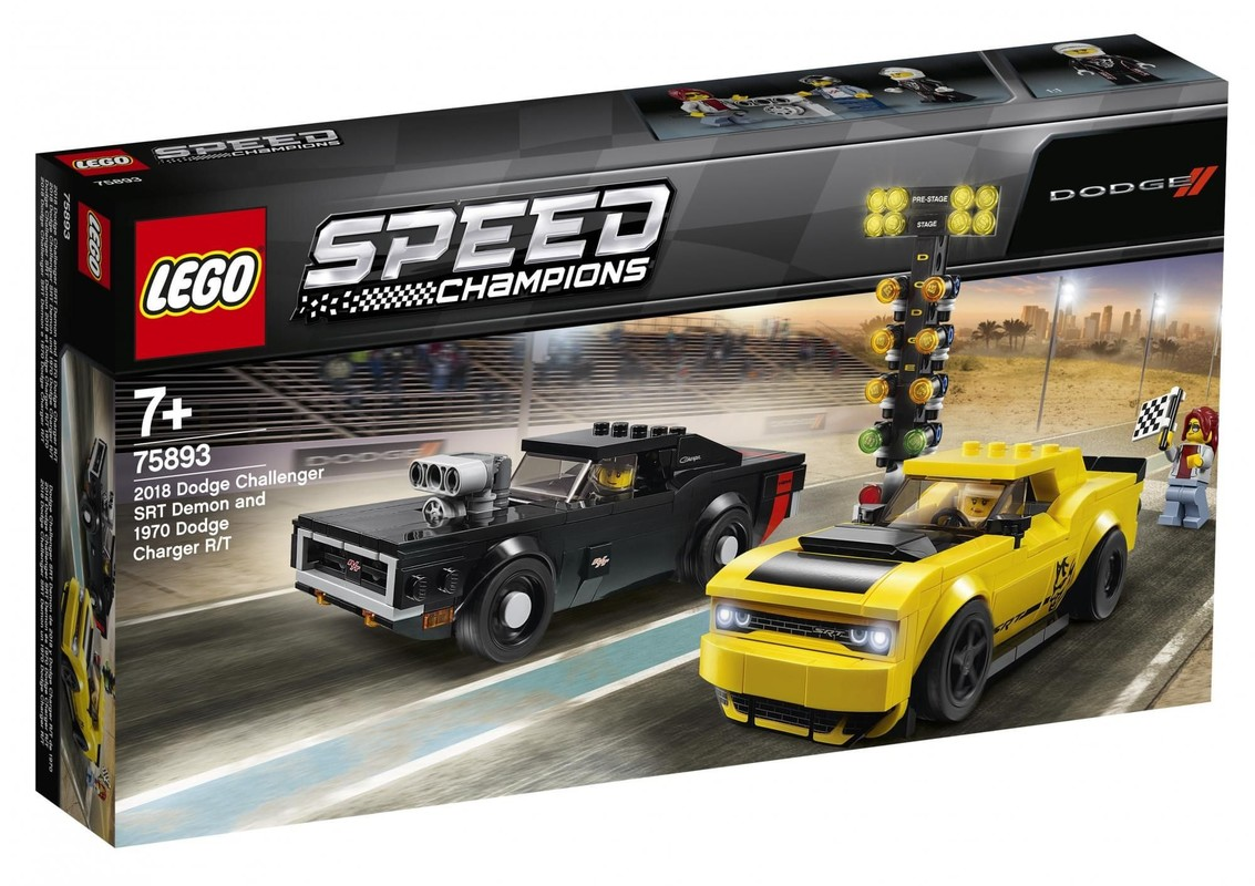 LEGO - Speed Champions 75893 2018 Dodge Challenger SRT Demon a 1970 Dodge Charger R/T