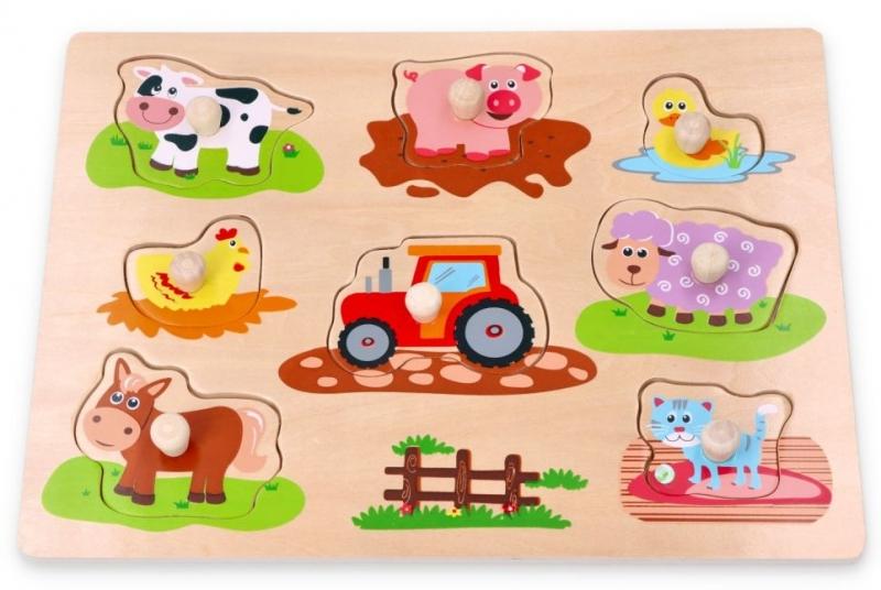 LELIN - Edukačný vkladačka, puzzle - Farma s traktorom