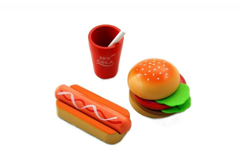 LELIN - Lelin Drevená hračka - Fast food sada
