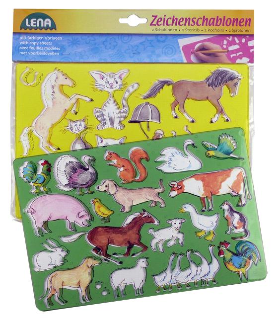 LENA - Kresliace Šablóny (Kone, Mačky)