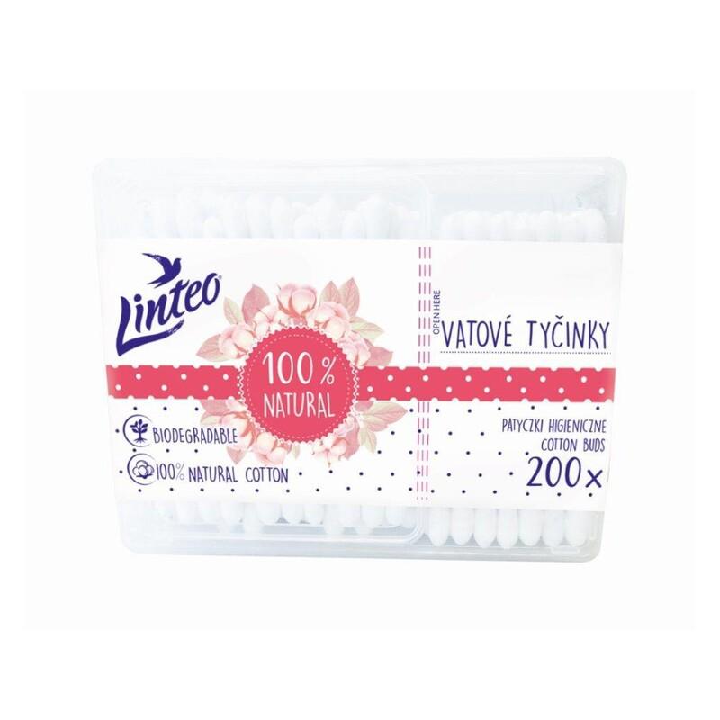 LINTEO - Papierové vatové tyčinky 100% natural 200 ks v boxe