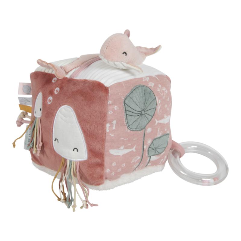LITTLE DUTCH - Plyšová kocka ocean pink