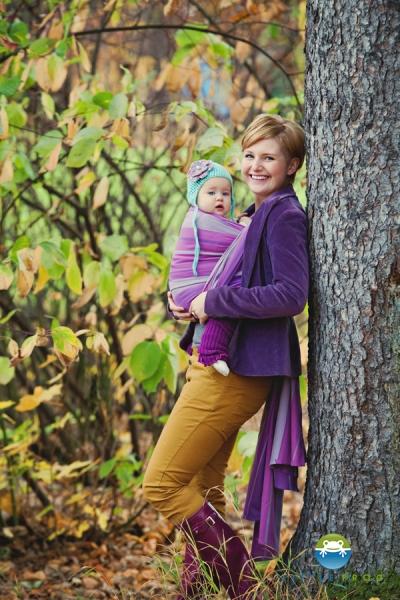 LITTLE FROG - Tkaný šatka na nosenie detí - AMETHYST