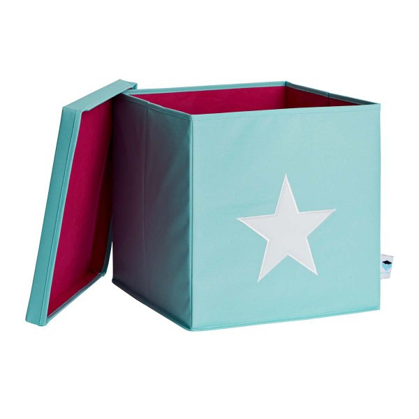 LOVE IT STORE IT - Box na hračky s krytom - zelený, biela hviezda