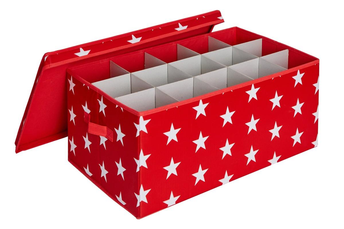 LOVE IT STORE IT - box na vianočné gule , hviezda, červená
