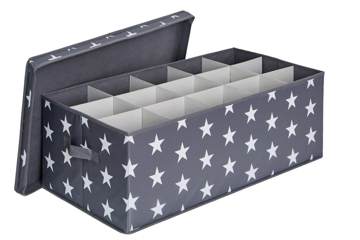 LOVE IT STORE IT - box na vianočné gule , hviezda, šedá