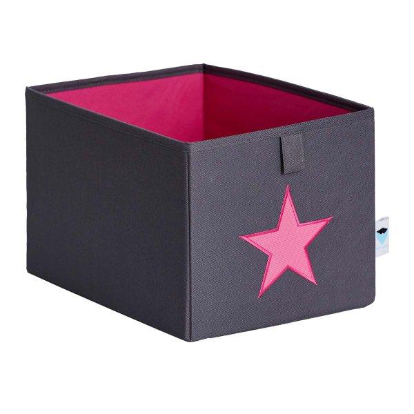 LOVE IT STORE IT - Malý box na hračky - šedý, ružová hviezda