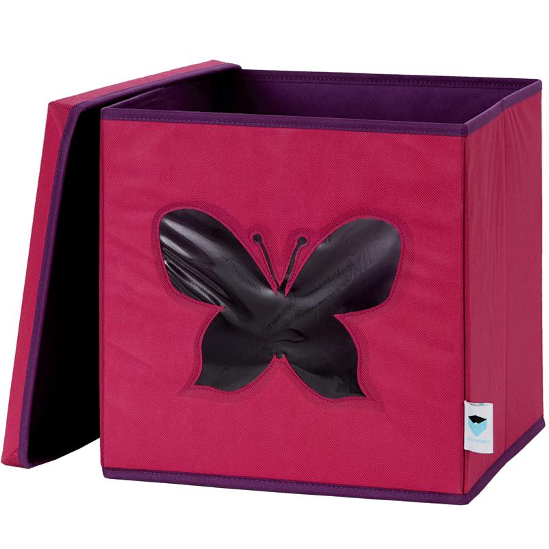 LOVE IT STORE IT - Úložný box na hračky s krytom a okienkom - motýľ