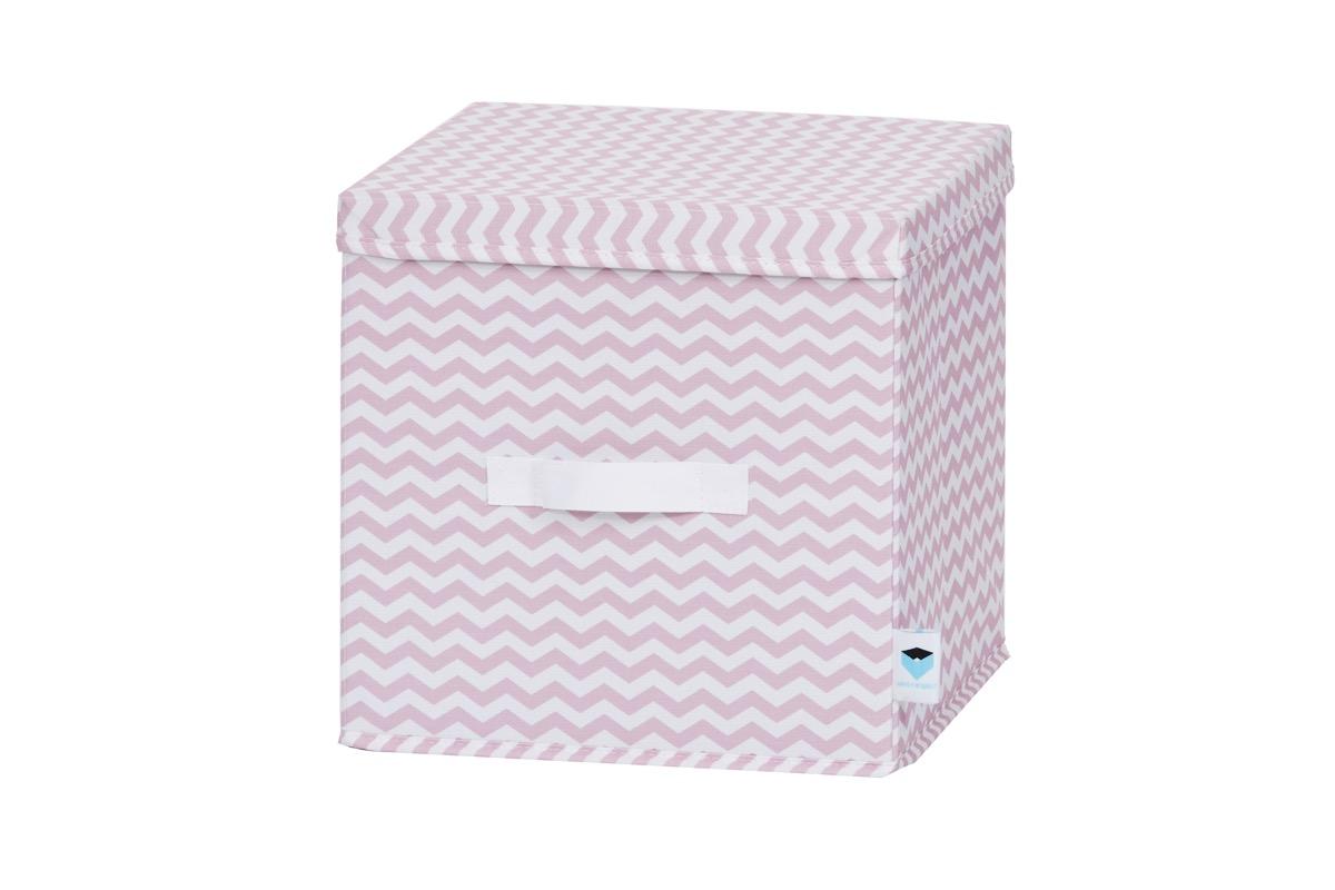 LOVE IT STORE IT - úložný box s vrchnákom, zig-zag, ružová