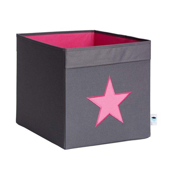 LOVE IT STORE IT - Veľký box na hračky - šedý, ružová hviezda