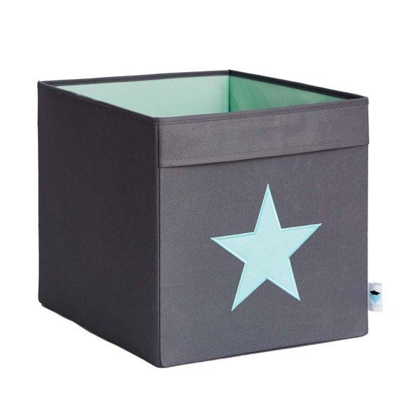 LOVE IT STORE IT - Veľký box na hračky - šedý, zelená hviezda