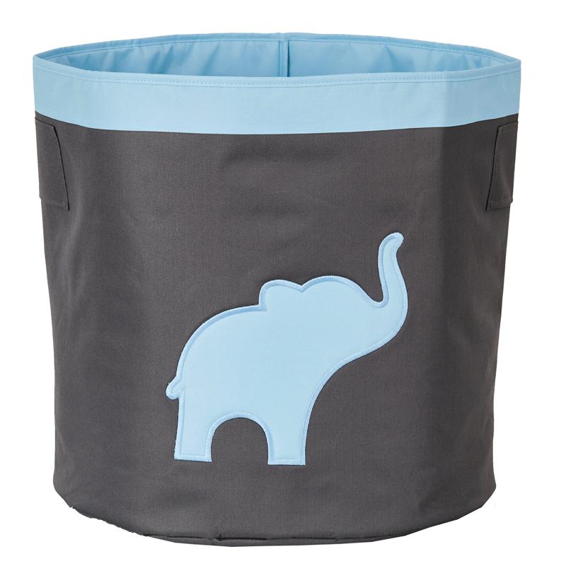 LOVE IT STORE IT - Veľký úložný box na hračky, okrúhly - šedý, modrý slon