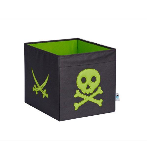 LOVE IT STORE IT - Veľký úložný box Piráti – šedý so zeleným pirátom