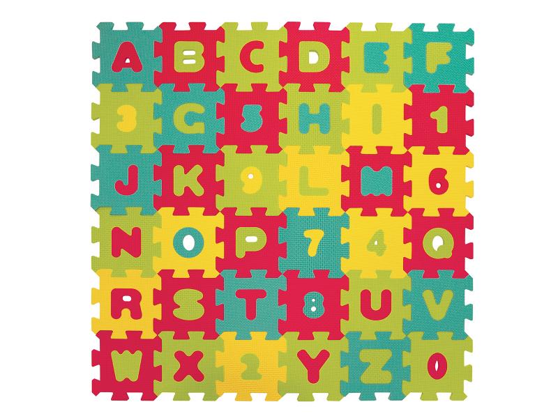 LUDI - Puzzle penové 90 x 90 cm, písmená a čísla
