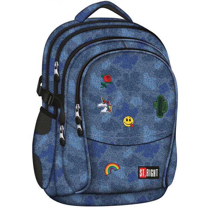 MAJEWSKI - Študentský batoh St.Right Jeans & Badges BP01