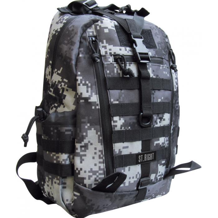 MAJEWSKI - Študentský batoh St.Right Military Black Digital BP39