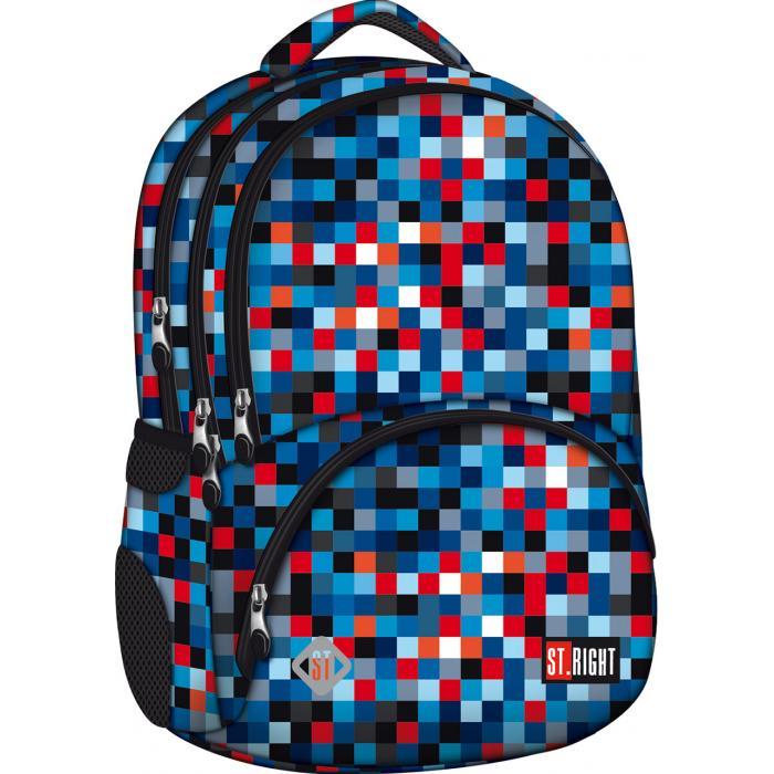 MAJEWSKI - Študentský batoh St.Right Pixelmania Blue BP07