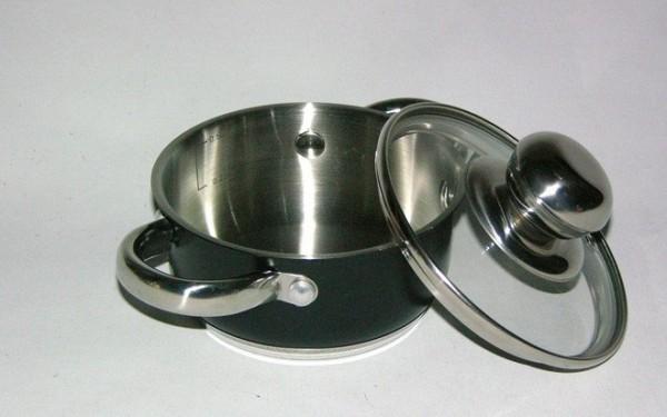 MAKRO - Hrniec nerezový a pokrievka sklenená 16cm 1,5l