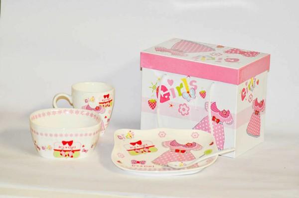 MAKRO - Sada detská GIRL 3-dielna, porcelánová