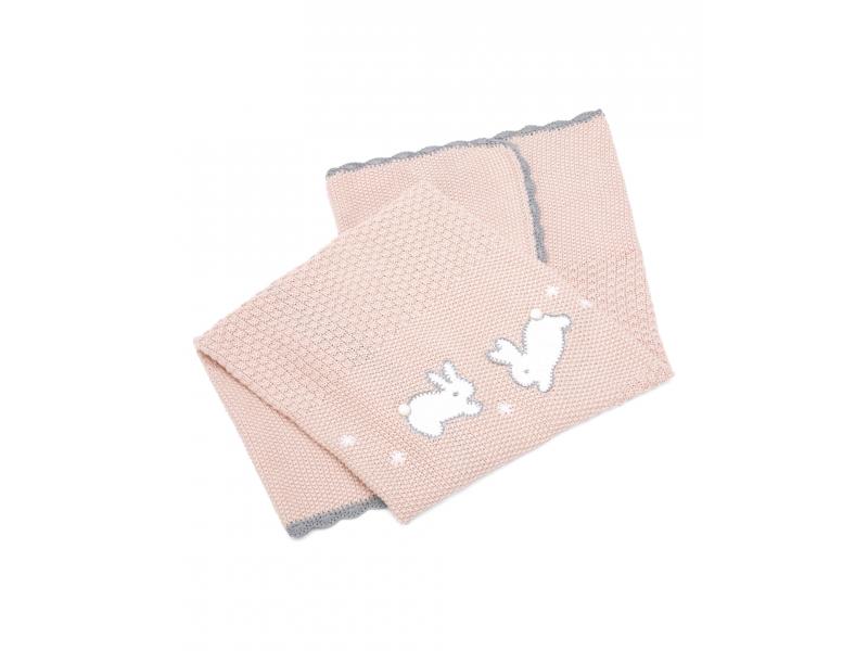 MAMAS & PAPAS - Pletená deka Králici rúžová
