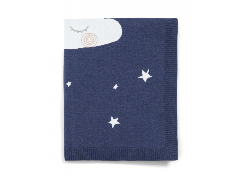 MAMAS & PAPAS - Pletená deka nočná obloha modrá