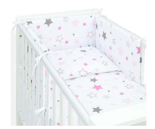 MAMO TATO - 3-dielny set do postieľky s mantinelom - Big Stars ružové