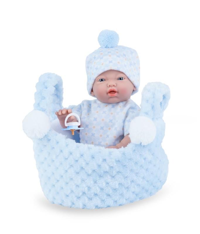 MARINA & PAU - 200-BP Bábika - kúpacie bábätko New Born chlapček v košíčku - 21 cm