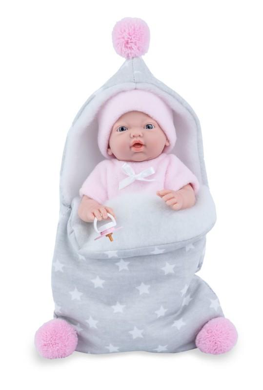MARINA & PAU - 210-AP Bábika - kúpacie bábätko New Born dievčatko s fusakom - 21 cm