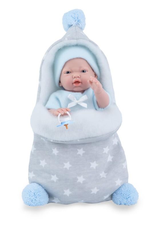 MARINA & PAU - 210-BP Bábika - kúpacie bábätko New Born chlapček s fusakom - 21 cm