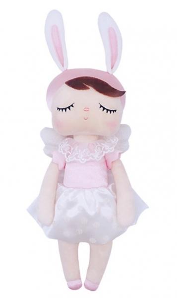 METOO - Handrová bábika Anjelik v kvetovanej sukničke - ružová