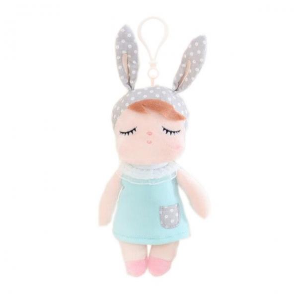METOO - Mini handrová bábika Metoo s uškami a klipom, mätové šaticky, 19cm