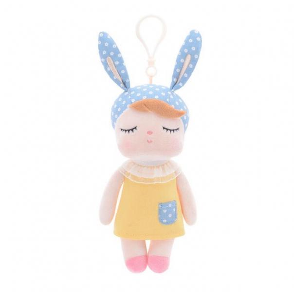 METOO - Mini handrová bábika Metoo s uškami a klipom, źlté šaticky, 19cm