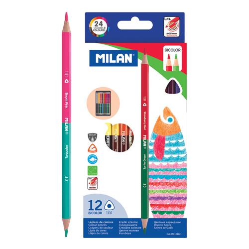 MILAN - Pastelky dvojfarebné trojhranné 12ks